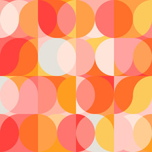 Geometric Vector Seamless Pattern With Circle Shapes In Pastel Colors. Modern Mosaic Background In Retro Style.