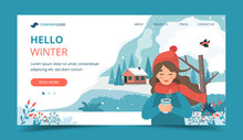 Cute Girl In Winter Holding A ...