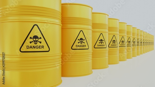 Yellow barrel of fuel or chemicals on a white background Wallpaper Mural