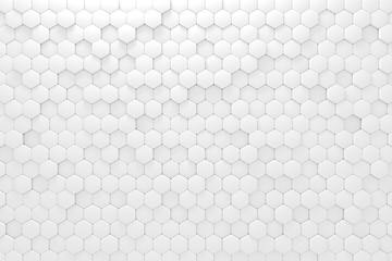 White 3d rendering hexagon pattern of polygons