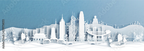 Photo Panorama view of Hong Kong skyline with world famous landmarks of China in paper cut style vector illustration