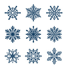 Set Of Different Snowflake Silhouette. Winter Holiday Decoration.Vector Illustration