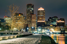 Boston Harbor Walkway, Waterfront, And Skyline At Night (Winter) - Boston, Massachusetts, USA
