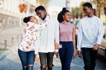 Four African Friends Walking T...