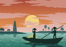Woman Stand In Boat To Go To Pay Respect To Tran Quoc Famous Pagoda Of Vietnam ,vintage Color,vector Illustration