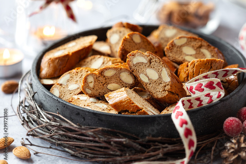 Christmas baking concept - homemade Italian biscotti with chestnut flour and alm Fototapeta