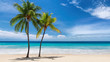 canvas print picture Paradise beach. Sunny beach with palm and turquoise sea. Summer vacation and tropical beach concept.