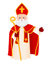 Saint Nicholas Cartoon Character Isolated On White