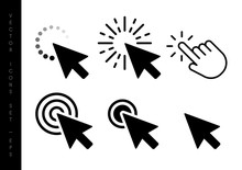 Computer Mouse Click Cursor Black Arrow Icons Set. Vector Illustration