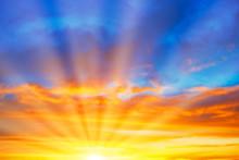 Sunset Blue Orange Sky With Su...