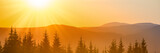 Fototapeta  - Panorama of sunset in the mountains landscape with forest and big shining sun