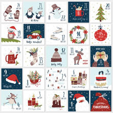 Christmas Cartoon Advent  Calendar. Countdown Till Christmas Kit