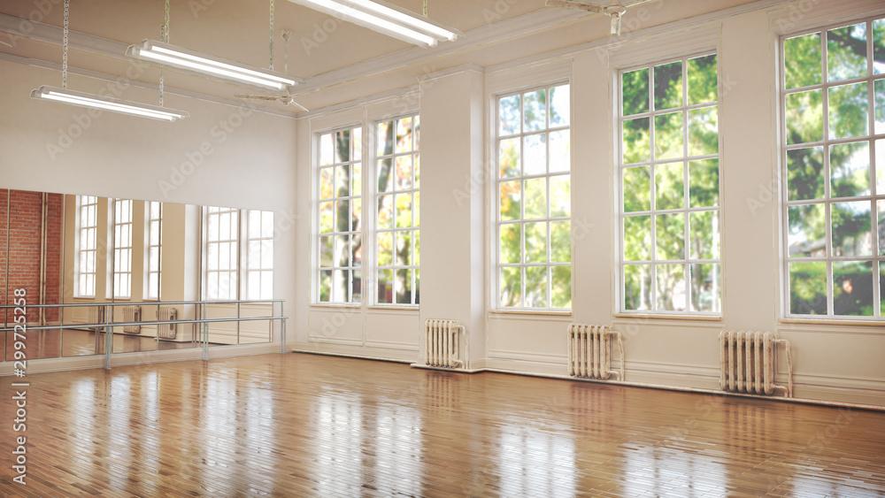 Fototapeta Dance or ballet studio interior. 3d illustration