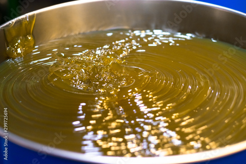 Fototapeta Lubrication grease (Lithium normal NLGI 3), yellow appearance in the drum obraz