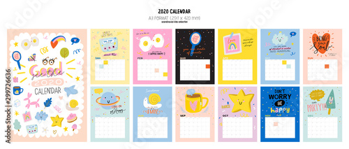 Canvas Prints Positive Typography Happy Birthday wall calendar. 2020 Yearly Planner have all Months.