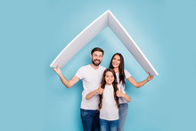 Portrait Of Beautiful Three People Mom Dad School Kid With Brown Hair Hold Roof Move Comfort Cozy House Approve Feedback Recommend Wear White T-shirt Denim Jeans Isolated Over Blue Color Background