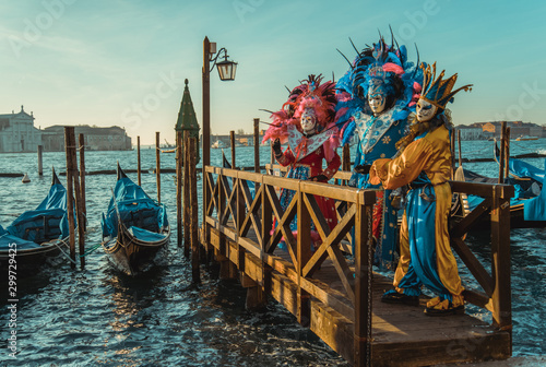Fototapeta Colorful carnival masks at a traditional festival in Venice, Italy obraz