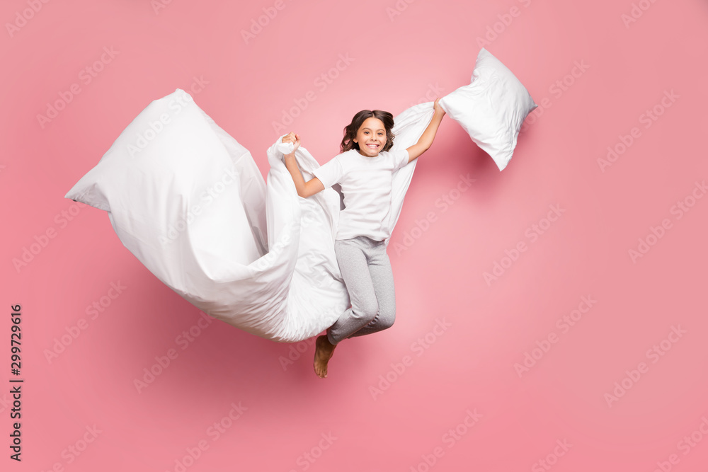 Fototapety, obrazy: Full length body size view of nice attractive cute playful cheerful cheery wavy-haired pre-teen girl jumping flying with soft cotton pillow blanket isolated over pink pastel color background