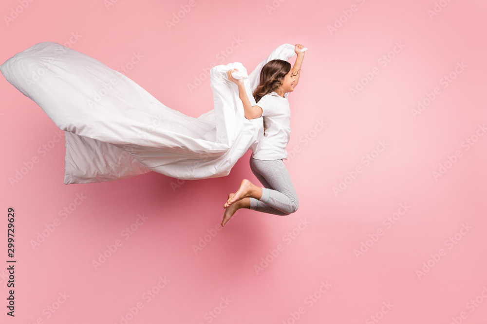 Fototapety, obrazy: Full length body size view of nice attractive childish playful carefree cheerful cheery wavy-haired pre-teen girl jumping flying with blanket ghost isolated over pink pastel color background