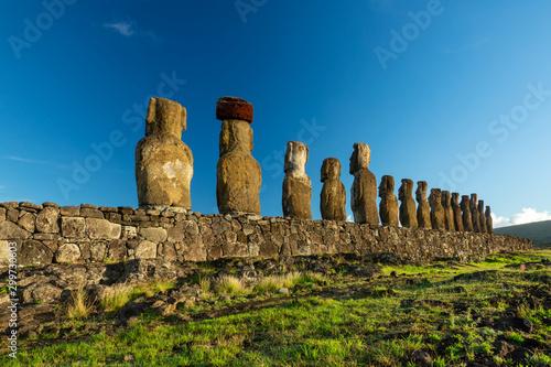 Valokuvatapetti Rear perspective view of Moai statues of Ahu Tongariki on Easter Island
