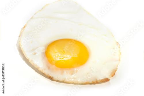 Poster Egg fried egg on white background