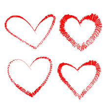 Four Red Doodle Hearts, Hand D...