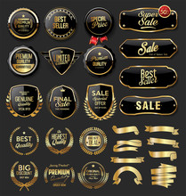 Gold And Black Badges Retro Vi...