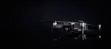 DJI MAVIC AIR On Black Background. Popular Compact Quadcopter