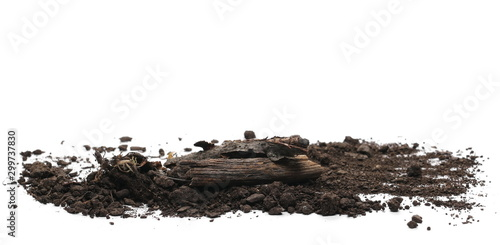 Papiers peints Texture de bois de chauffage Decorative dry rotten branches in soil, dirt pile, wood for campfire isolated on white background