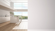 Modern White And Wooden Kitche...