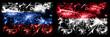 Leinwandbild Motiv Russia, Russian vs Monaco, Monacan New Year celebration sparkling fireworks flags concept background. Combination of two states flags