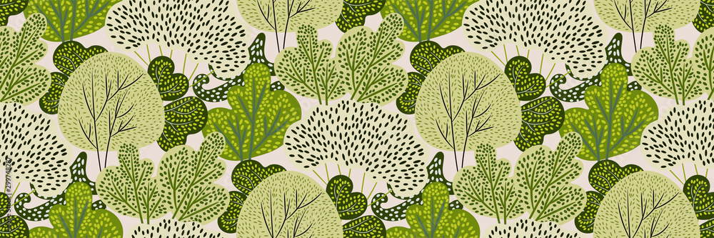 Fototapeta Seamless pattern with green trees in a hand-drawn style on a white background. Creative print with spring / summer forest. Stylized Botanical texture, backdrop. Vector illustration.