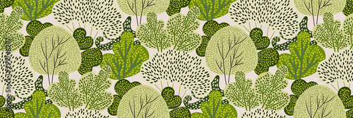 Fotografering Seamless pattern with green trees in a hand-drawn style on a white background