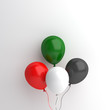 Independence day design creative concept for United Arab Emirates UAE, Kuwait, Palestine, Jordan, Sudan. Flying balloon red, white, green, black color on background studio lighting. 3D illustration.