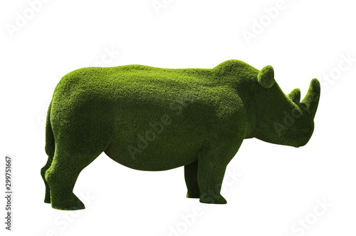 Spoed Foto op Canvas Neushoorn Beautiful rhinoceros shaped topiary isolated on white. Landscape gardening