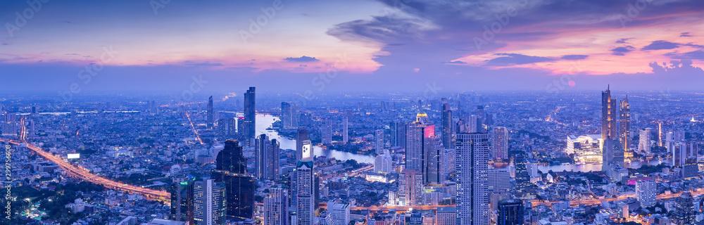 Fototapety, obrazy: Bangkok city at night, panorama