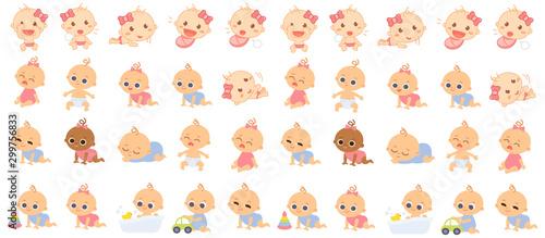 Set of babies cartoon characters Wallpaper Mural