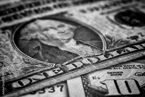Fototapety, obrazy: United States Dollars. Black and White