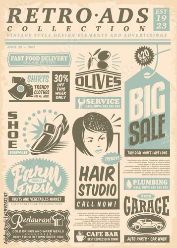Obrazy z napisami  retro-newspaper-ads-page-with-promo-advertisements-vintage-newsprint-letterhead-vector