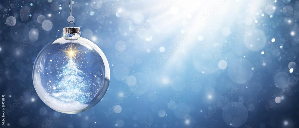 Fototapety, obrazy: Shiny Christmas Tree In Snow Globe