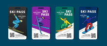 Set Of Ski Pass Cards, Admission For Lift To The Mountain Slopes With Colorful Illustrations Of Skier And Snowboarder With Qr Code