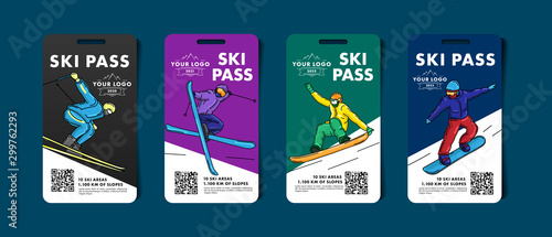 Fotomural Set of ski pass cards, admission for lift to the mountain slopes with colorful i