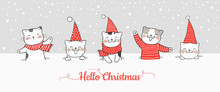 Draw Banner Cute Cat In Snow For Christmas And New Year.