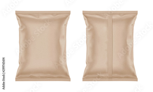 Vector blank kraft paper bag for packaging design, mockup template for food snack, chips, cookies, peanuts, candy Wallpaper Mural