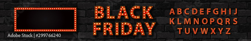 Fototapeta Vector realistic isolated marquee sign of Black Friday logo with broadway frame and light bulb font for template decoration and covering on the wall background