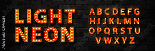 Vector realistic isolated marquee light bulb neon font for template decoration and invitation covering on the wall background. Concept of broadway and show. - 299766284