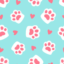 Paw Seamless Pattern Footprint...
