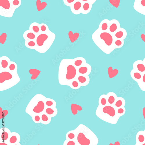 mata magnetyczna Paw seamless pattern footprint and heart. cute cat paw on blue background. simple cartoon flat style vector illustration.