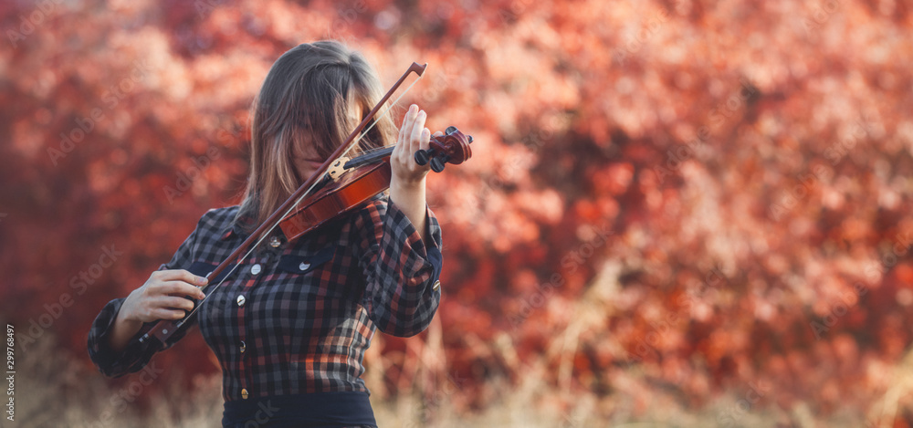 Fototapeta beautiful young woman playing violin on a background of red foliage, romantic girl in dress playing a musical instrument in nature, musical performance outdoors, concept of hobby and passion in art