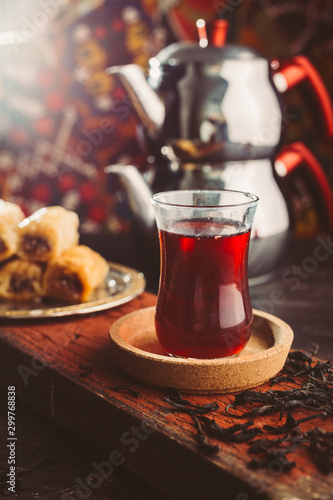 turkish tea and baklava on wooden table Canvas Print